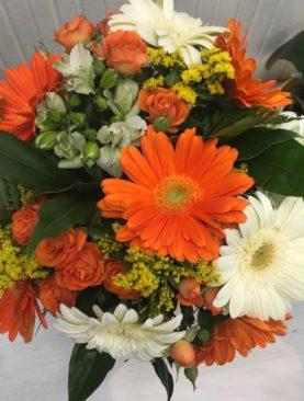 Bouquet gerbere, bianco e arancio