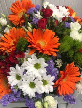 Bouquet arancio, lilla e bianco
