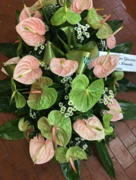 Cuscino funebre rosa e verde
