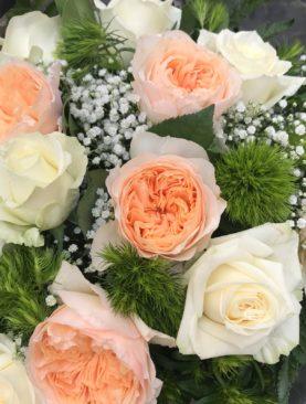Bouquet bianco e pesca