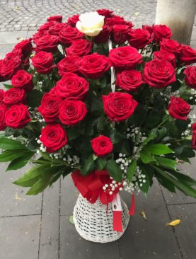 50 rose rosse extra in cesto