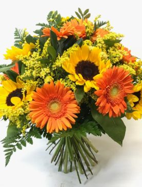 Bouquet di girasoli e gerbere arancio