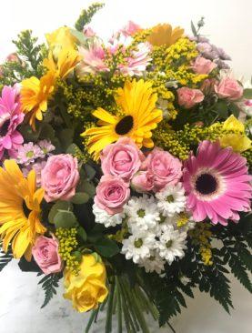 Bouquet misto fucsia e giallo